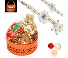 Punjabi Ghasitaram Orange Metal Basket Rakhi Hampers