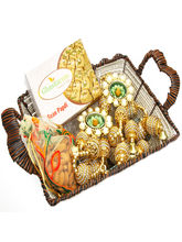 Punjabi Ghasitaram Brown Cane Basket with Soan Papdi, Almonds, Toran and 2 T Lites