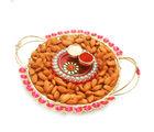 Ghasitaram Diwali Hampers Golden Mesh Almond Tray With Mini Pooja Thali