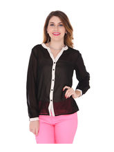 Bedazzle Womens Solid Casual Black Shirt (KF-926), xs
