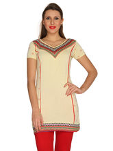 Bedazzle Printed Womens Yellow Tunic (KF-607), m