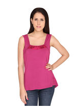 Bedazzle Casual Sleeveless Solid Womens Pink Top (KF-565), m