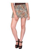Bedazzle Printed Womens Regular Brown Blue Skirt (KF-815), xl