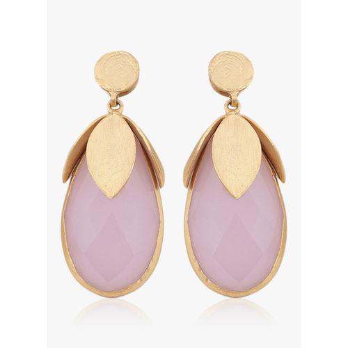 Nyaara Gold Rose Quartzs Stone And Brass Alloy Earings