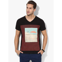 Riot Jeans Graphic V Neck T-Shirt, l,  black
