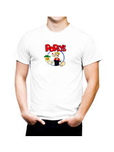 AKS Splash Popeye Stylish Men's T Shirt (SPCA2157), white, m