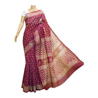 Burgundy Chanderi Silk Saree