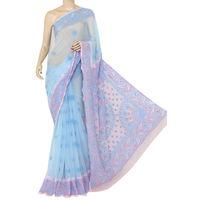 Sky Blue - Baby Pink Lucknowi Chikankari Saree