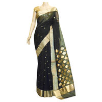 Black Chanderi Silk Saree