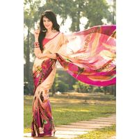 Multi Colour Floral Printed Satin Saree