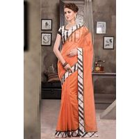 Orange Weaved Cot Silk Saree