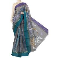 Grey Sea Green Purple Bengali Tant Saree