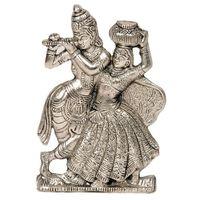 Lord Radha Krishna Antique White Metal Idol