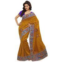 Light Yellow & Blue Bhagalpuri Jacquard Saree