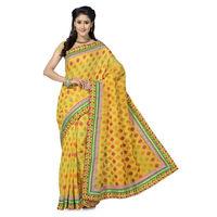 Splendid Yellow and Green Emboridery work Banaras Saree