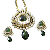 Pearl Studded Purple Pendant Set, green