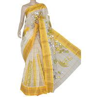 Off-White Yellow Bengali Tant Saree