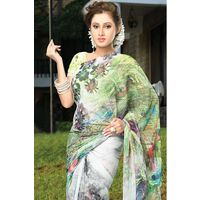 Green Georgette Saree with Printed Pallu
