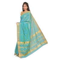 Seagreen Chanderi Saree with Gold Zari