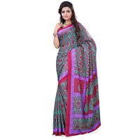 Dark Green Crepe Printed Saree