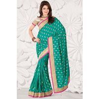 Blue Georgette Weaved Saree