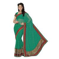 Sober Green Designer Chiffon Saree