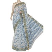 White-Blue Bengali Tant Saree