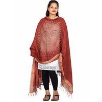 Red Handpainted Kalamkari Tussar Silk Dupatta