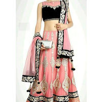 Baby Pink With Thread Work and Net Dupatta