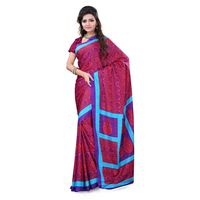 Red & Purple Crepe Printed Saree