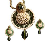 Beautiful Green Meena Pendant Studded with Pearls, green