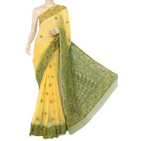 Light Yellow - Menhdi Green Lucknowi Chikankari Saree