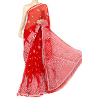 Red Lucknowi Chikankari Saree