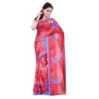 Red & Blue Crepe Printed Saree