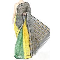 Grey Yellow Green Bengali Tant Saree