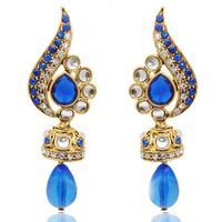 Kriaa Austrian Stone Jhumki Style Blue Drop Earrings
