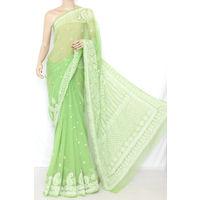 Pista Green Lucknowi Chikankari Saree
