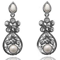 Kriaa White Austrian Stone Antique Silver Earrings