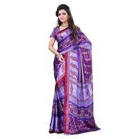 Purple & Red Crepe Printed Saree