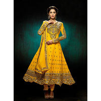 Yellow color Anarkali Suit