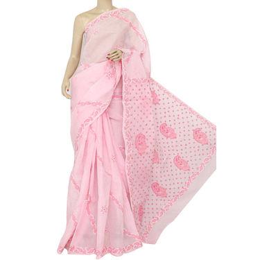 Light Pink Lucknowi Chikankari Saree
