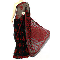 Black - Red Lucknowi Chikankari Saree
