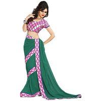 Green & Pink Chiffon Casual Saree