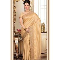 Blended Tussar Saree With Lace Cut Work