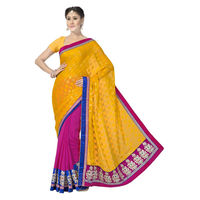 Gorgeous Orange and Pink Viscose, Georgette and Fancy Jacquard Designer Saree
