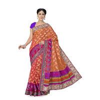 Stunning Orange and Pink Designer Banarasi Saree