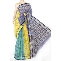 Purple Yellow Green Bengali Tant Saree