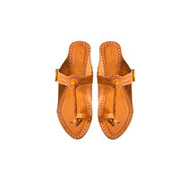 Yellow Leather Kolhapuri Chappal, 7