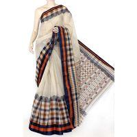 Beige Bengali Tant Saree