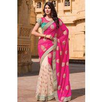 White Net & Georgette Saree in Pink Pallu
